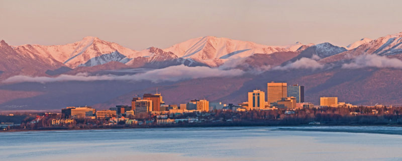 Anchorage, Alaska skyline at sunset